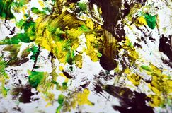 黑黄色深绿对比,油漆水彩背景,抽象绘的水彩背景 免版税图库摄影