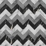 黑,灰色和白色大理石之字形无缝的样式 皇族释放例证