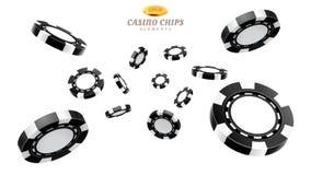 黑3d赌博娱乐场芯片或飞行现实象征 免版税库存图片