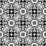 黑n白色圣诞节开花无缝的样式背景例证 向量例证