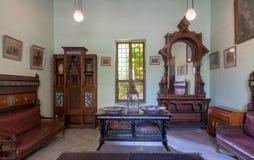 默罕默德阿里王子Manial宫殿  有葡萄酒家具的,开罗,埃及仪式室 免版税库存图片