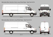 默西迪丝Sprinter范LWB和额外LWB 向量例证