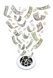 默认值下来排泄货币 免版税库存图片