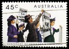 鼓吹妇女参政的妇女,百年在澳大利亚serie的妇女的参政权,大约1994年 库存照片