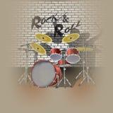 鼓成套工具鼓手和阴影 免版税库存图片