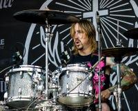 鼓手布赖恩Dugan执行 库存图片