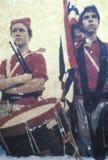 鼓手男孩和旗手偏正片调动在布尔朗战役争斗的南北战争再制定期间  免版税图库摄影