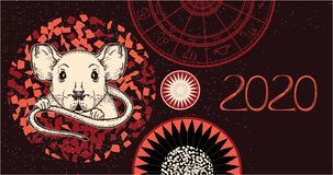 鼠的传染媒介图象 2020年的标志 向量例证