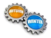 齿轮与秋天和冬天(包括的裁减路线) 库存图片