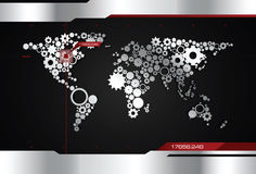 齿轮世界地图 免版税图库摄影