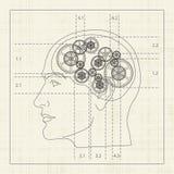 齿轮人脑 免版税库存照片