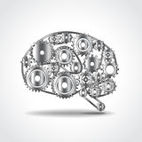 齿轮传染媒介例证脑子  免版税库存图片