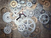 齿轮和人 库存例证