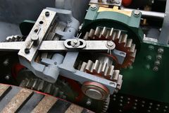 齿轮和嵌齿轮在式样牵引车 免版税图库摄影