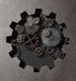 齿轮和嵌齿轮蒸汽低劣的3d例证 库存照片