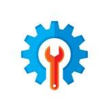 齿轮和板钳导航商标模板在平的样式的概念例证 背景蓝色图标人员支持文本白色 设置平的象 嵌齿轮标志 SEO权威 皇族释放例证