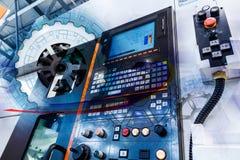 齿轮和自动化的现代机器抽象图画的概念有数字控制CNC的 免版税库存照片