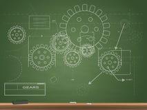 齿轮图纸黑板例证 免版税库存图片