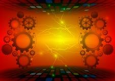 齿轮抽象传染媒介红色背景技术概念 库存例证