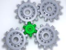 齿轮绿色银 免版税库存图片