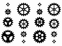 齿轮,传染媒介例证剪影  免版税库存图片