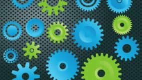 齿轮,在行动的齿轮,机械工 库存例证