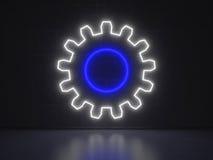 齿轮-系列霓虹灯广告 库存图片
