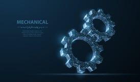 齿轮 在深蓝背景的抽象传染媒介wireframe两齿轮3d现代例证 免版税库存图片