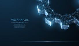 齿轮 在深蓝背景的抽象传染媒介wireframe两齿轮3d现代例证 免版税图库摄影