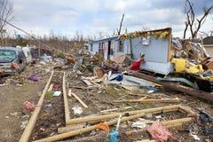 龙卷风后果在Henryville,印第安纳 库存图片