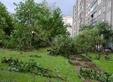 龙卷风在市米斯克,共和国白俄罗斯13 07 2016年 库存照片