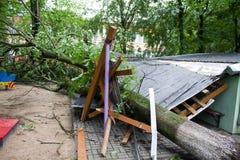 龙卷风在市米斯克,共和国白俄罗斯13 07 2016年 免版税库存图片