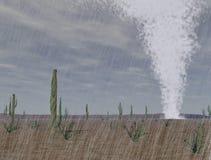 龙卷风在沙漠 库存图片