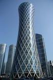 龙卷风塔在多哈,卡塔尔 图库摄影