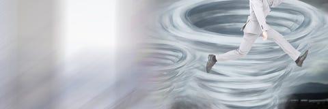 龙卷风扭转者绘了并且供以人员腿跳跃 免版税库存照片