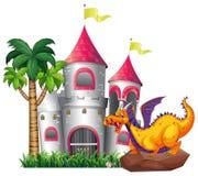 龙和城堡 免版税图库摄影