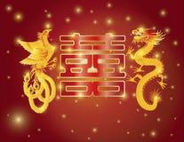 龙和菲尼斯双幸福红色背景 免版税库存照片
