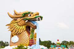 龙喷泉雕象 免版税图库摄影