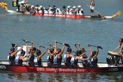 龙在新加坡发展银行河赛船会的小船准备2013年 库存图片