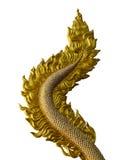 龙在白色背景隔绝的尾巴雕塑 免版税库存图片