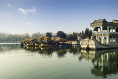 龙小船在颐和园 免版税库存图片
