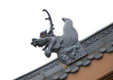 龙屋顶雕塑 免版税库存照片