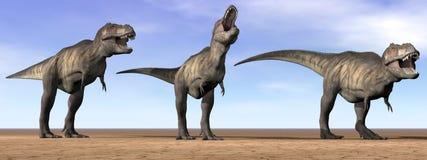 暴龙恐龙在沙漠- 3D回报 向量例证