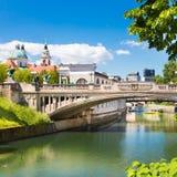 龙桥梁在卢布尔雅那,斯洛文尼亚,欧洲 图库摄影