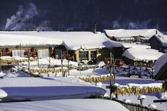 黑龙江省的-雪村庄双峰森林农场 免版税库存图片