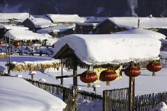 黑龙江省的-雪村庄双峰森林农场 免版税图库摄影