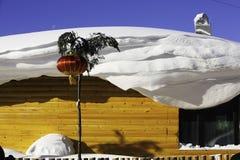 黑龙江省的-雪村庄双峰森林农场 库存图片