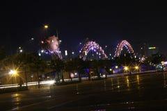 龙河桥梁在岘港市,越南,亚洲 图库摄影