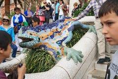 龙由Gaudi设计了在公园Guell 图库摄影