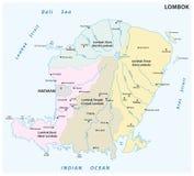 龙目岛行政和政治地图,印度尼西亚 免版税库存图片